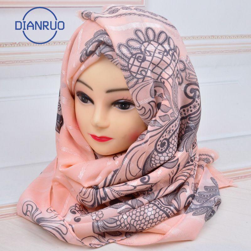 DIANRUO musulmana Hijab chiffon sciarpa di seta Foulard Boemia delle donne lungo Scialli Stampato Fiore avvolge la protezione solare Capo Sciarpe R204 201019
