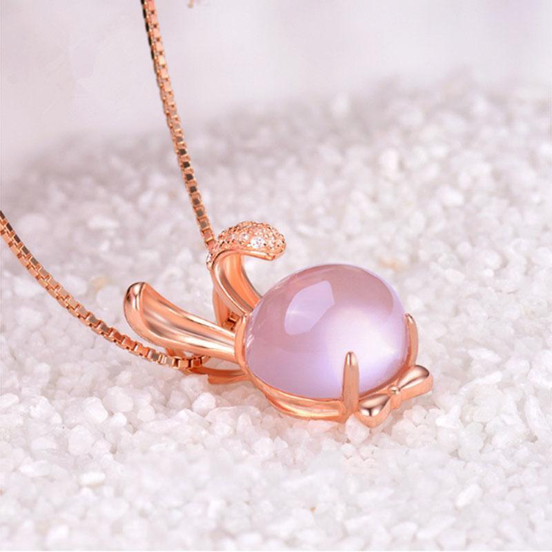 Collar Gargantilla colgante de oro rosa de color collar de piedra de cristal rosa de la moda 1pc de Corea Furong para la Mujer