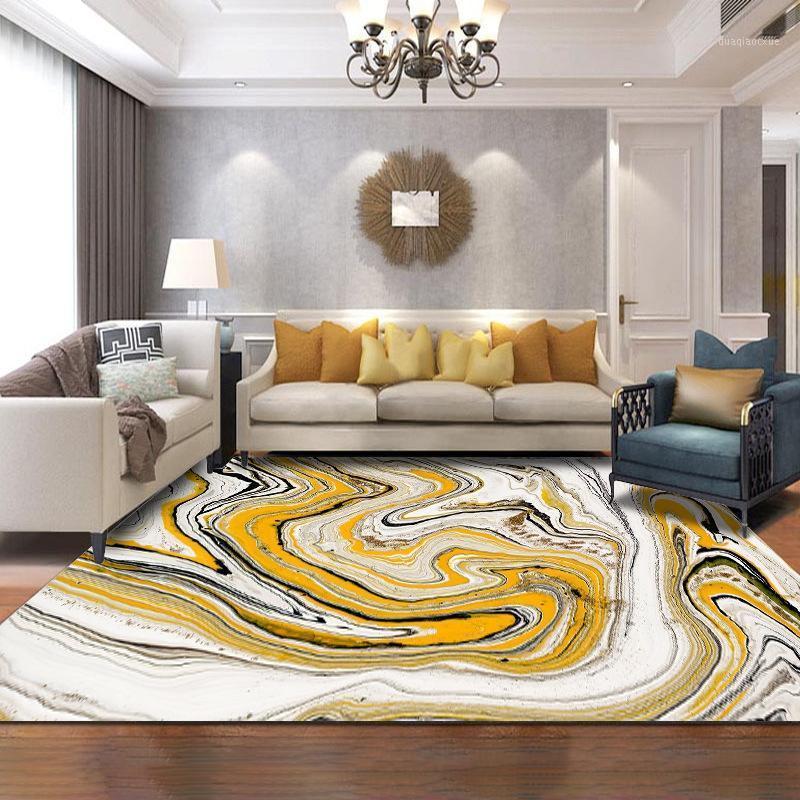 Modern abstract arte area tapetes aquarela amarelo branco mármore padrão tapete e tapete sala de estar quarto cama sofá piso mats1