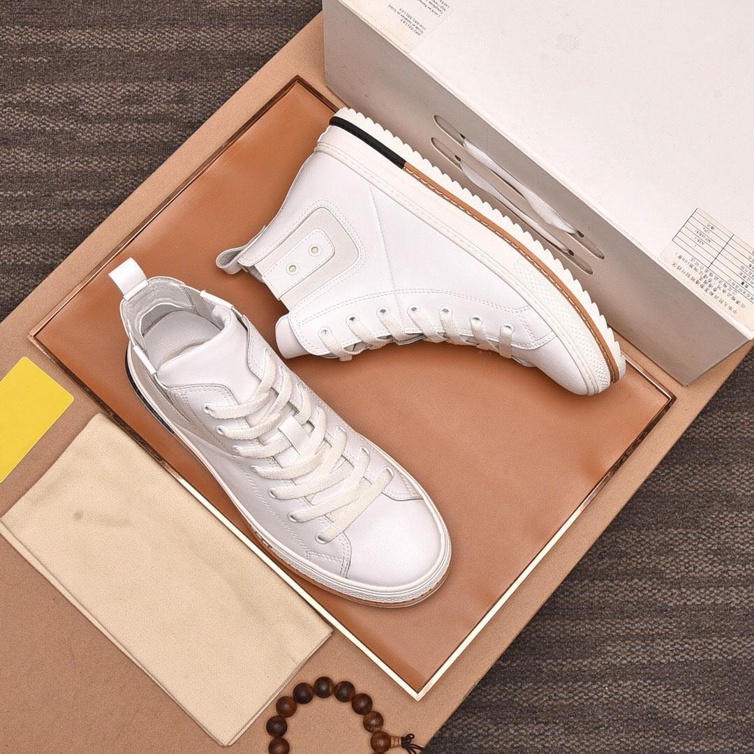 2021 Homens Designer Casual Couro Genuíno Sapatos de Marca Plataforma Alta Superior Sapatilhas Ao Ar Livre Andar Calçado De Moda Sapatos Lisos Tamanho 38-44