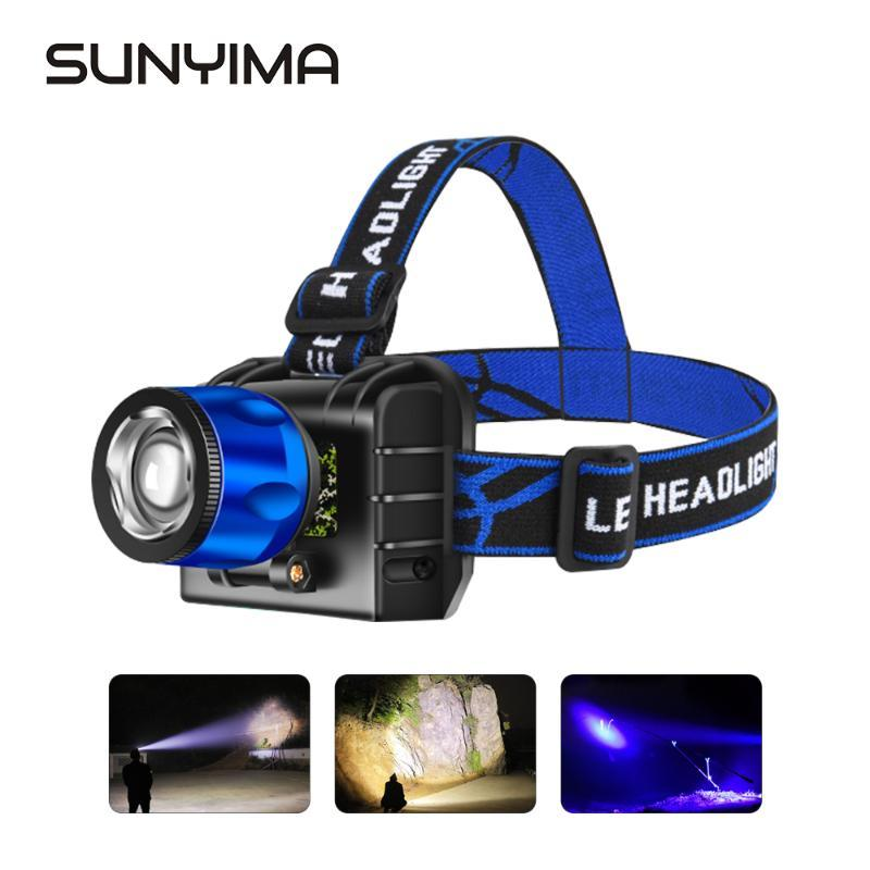 SUNYIMA Portable Headlight USB Rechargable LED Headlamp XPE/T6 waterproof Fishing headlights Camping Hiking