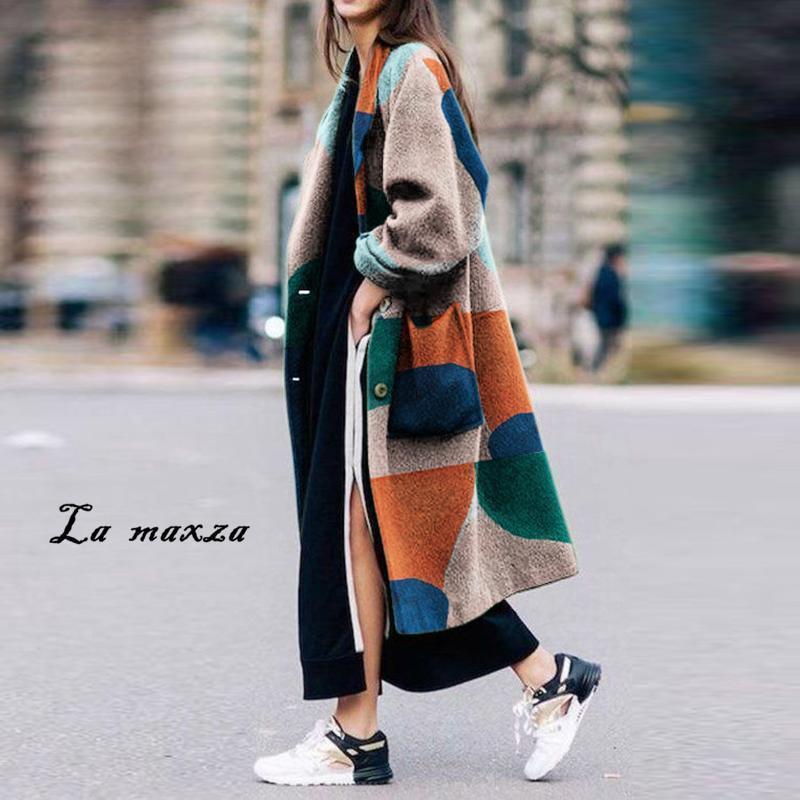 Plus Size 2020 donne Cappotto invernale elegante coreano Camel dell'annata delle donne Coat Stampa cappotti lunghi