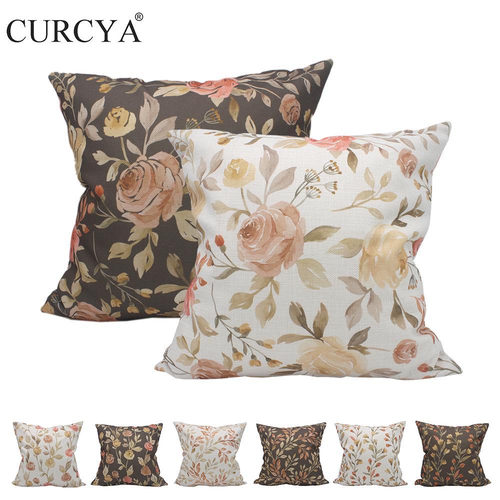 Casos Flores Impresso como o linho de poliéster Garden Vintage Floral Da cintura para fronha assento do sofá capas de almofadas