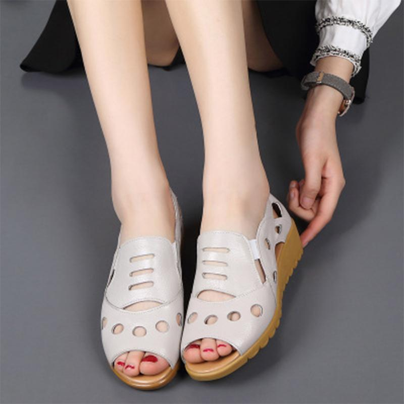 Women Sandals Home Wedges Platform Shoes Big Size 2020 Hollow Out Women Slip On Female Heels Shoes Women's Peep Toe