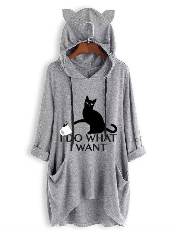 9518 новые свободные негабаритные трикотажные с капюшоном с длинным рукавом с капюшоном свитер свитер Cat нерегулярной кошки печати для женщин xssnV