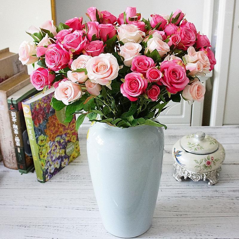 5 شوك ريال اللمس ارتفع الاصطناعي الزهور الحرير وهمية زهرة باقة الزفاف حزب العرض للمنزل حديقة الديكور floral1