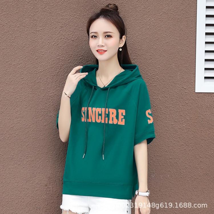 estilo fino das mulheres de manga curta de verão 2020 coreano estrangeiras com capuz solto fina coreano fo verão 2020 da luva das mulheres versatileTop camisola curtas