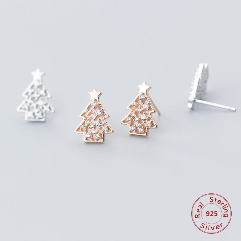925 Argento sterling albero di natale Forma dell'albero di natale Orecchini di cristallo trasparente dell'orecchio di cristallo Gioielli dell'orecchio del partito di natale del partito per le donne ragazze