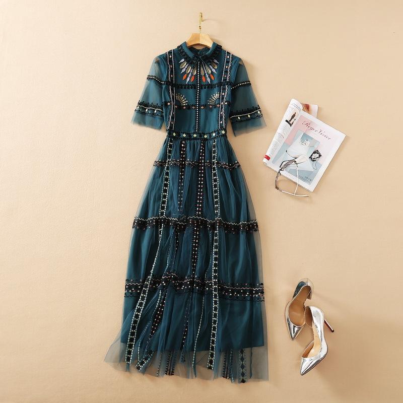 Milan Pist Elbise 2021 İlkbahar Yaz Yaka Boyun Kısa Kollu Tasarımcı Elbise Marka Aynı Stil Elbise 1226-21
