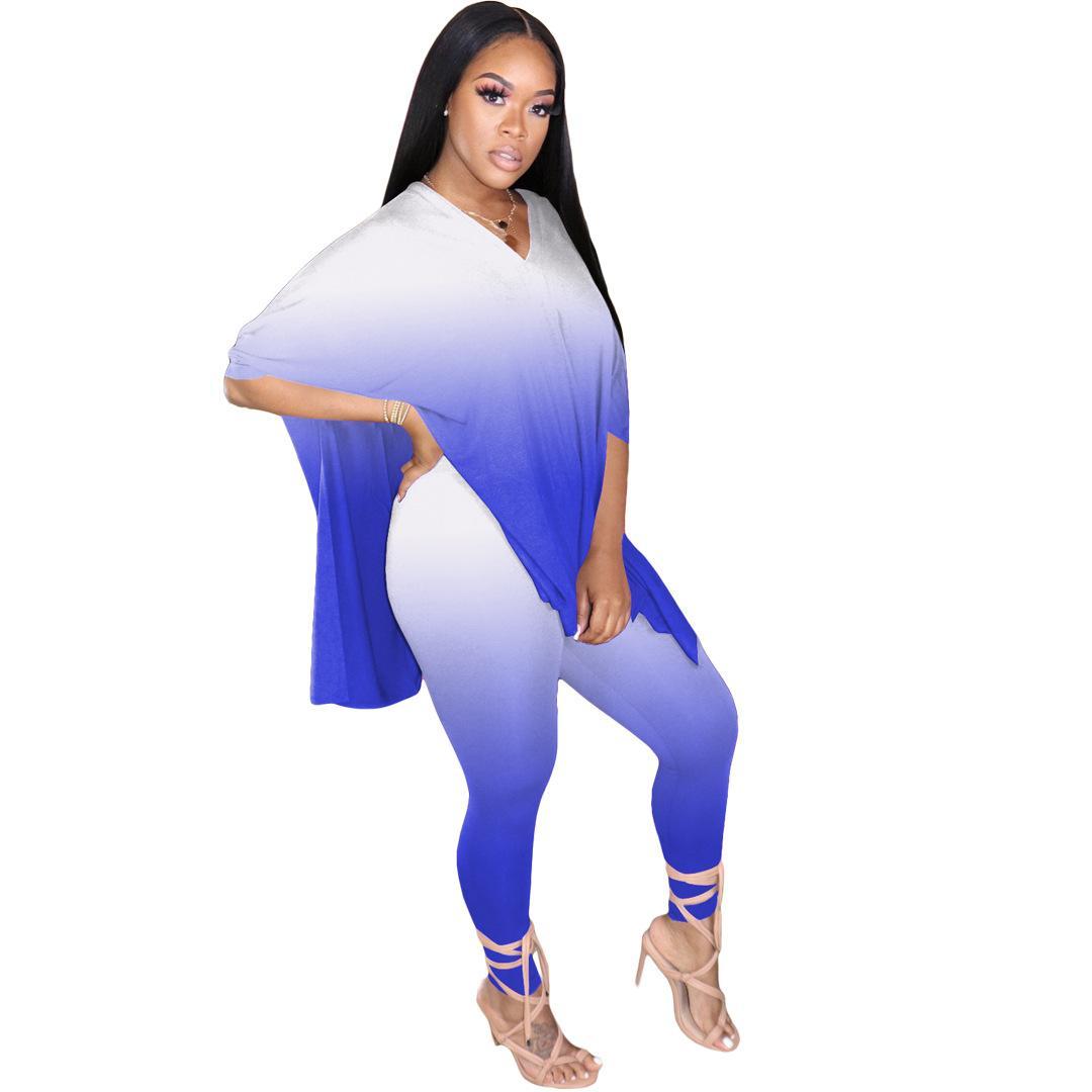 V à manches longues Pantalons cou Ensemble vêtements Dégradé de couleur femme deux pièces Pantalons Mode Set Casual