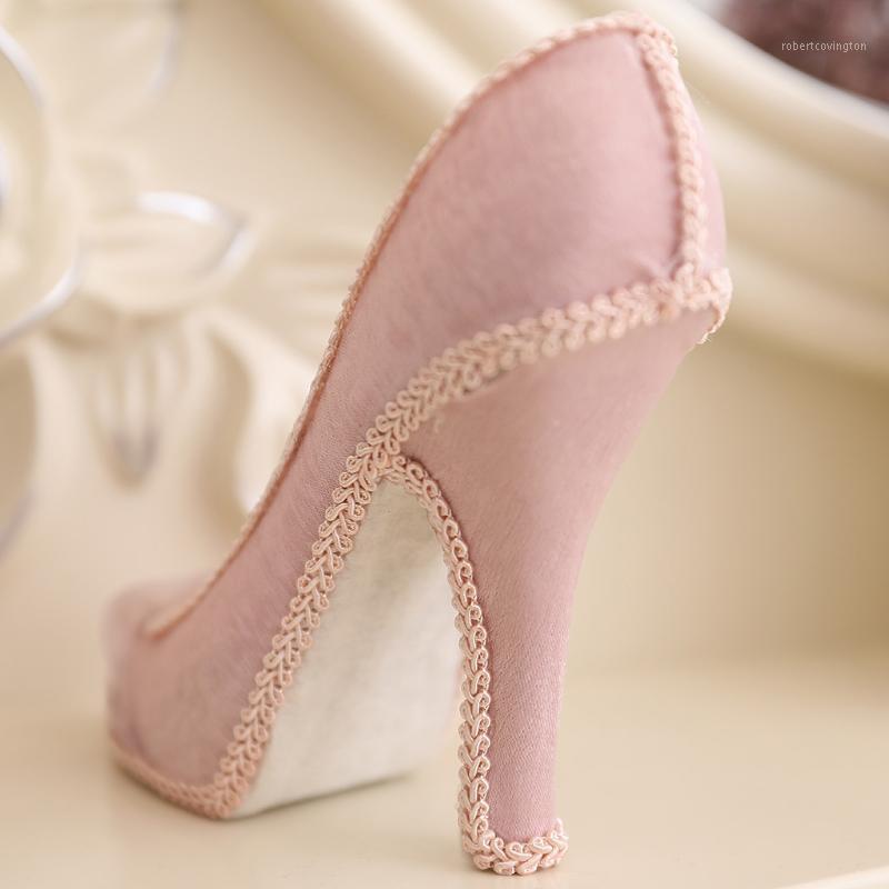 Reçine Yüksek Topuk Ayakkabı Yüzük Ekran Standı Pembe Reçine 8 Yuvaları Halka Vitrin1