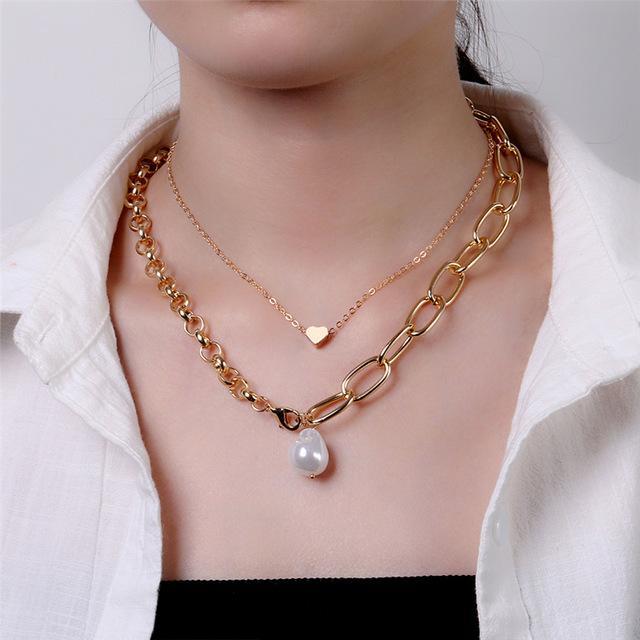 Панк Многослойные цепи ожерелье белого цвета Pearl ожерелье женщин Сердце Choker ожерелье воротник Mujer Пара подарка ювелирных изделий