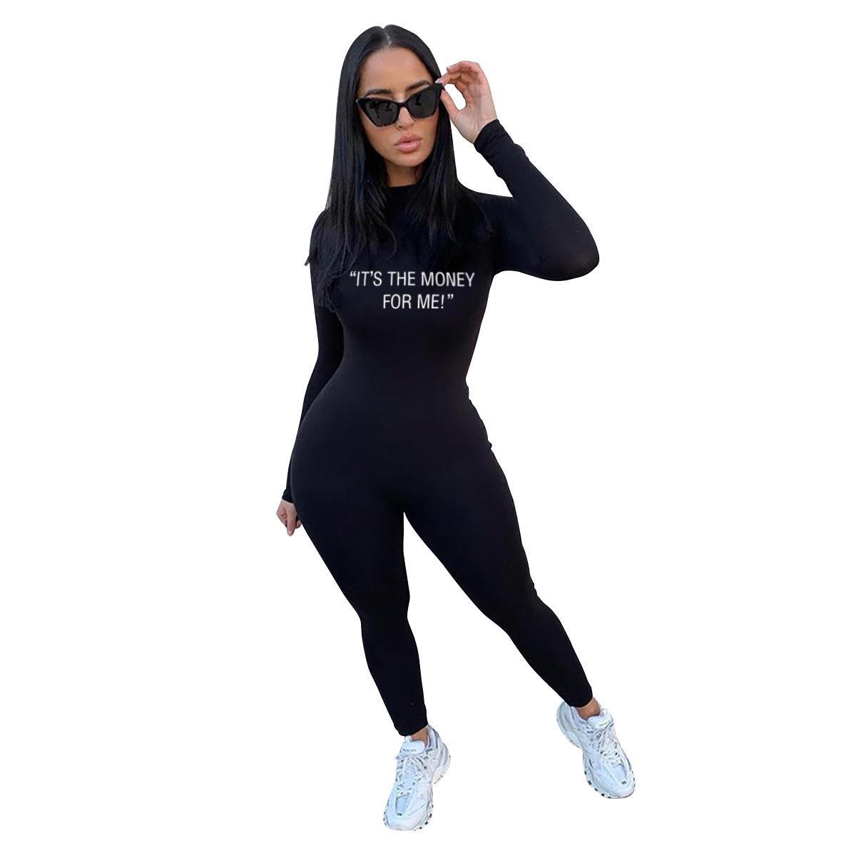 Jumpseaux occasionnels Jumpsuits à manches longues Turtleneck Body Sexy Body Femmes Black Lettre imprimée Bormon Bombeur en gros Dropshipping