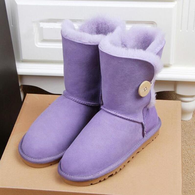 2020 Pulsante Stivali da neve donne pelle bovina reale stivali di pelliccia metà del tubo stivali cotone antiscivolo delle donne di inverno il calore della lana spessa