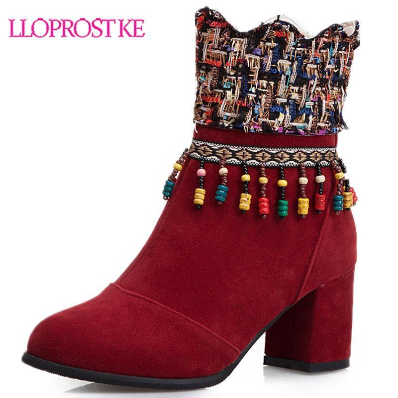 Stivali Lloprost ke caviglia per le donne stile cinese nero stivaletti rossi scarpe da donna autunno inverno corto H518
