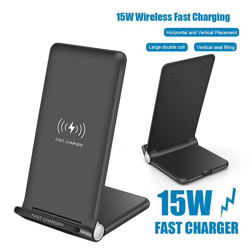 15W Fast Wireless Ladegerät-Pad Faltbare 10W Qi-Ladeständer für iPhone 12 Pro max XS Samsung S20 Note10 Großhandel
