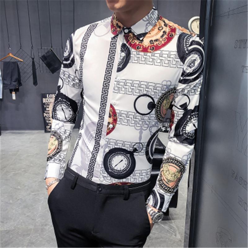 Camisa casual de los hombres Camisa 2021 Hombres Fashions Vintage Print Designer Streetwear Plus Tamaño 6XL Vestido de manga larga Kemeja Pria Camisa Feminina