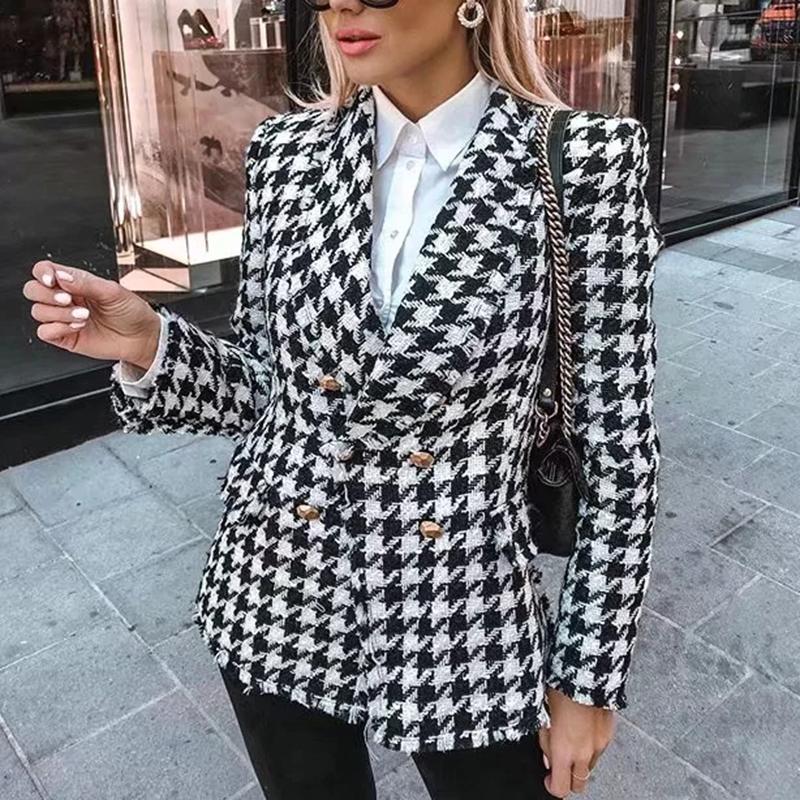 Frauen Tweed-Jacken Mode Bürodamen schwarzer Quaste Houndstooth Mäntel weiblichen Herbst Jahrgang dicken karierten Mantel Mädchen chic 200929