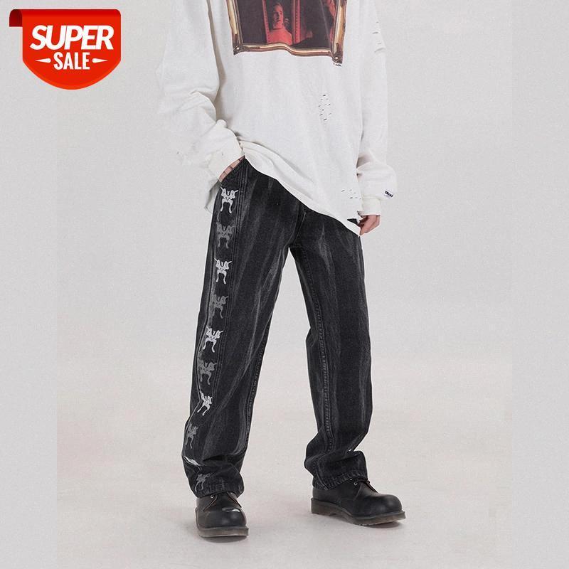 20SS HARAJUKU Retro Tie-Dye Butterfly Ricamo Denim Pantaloni Denim Uomo e donne Straight Sypy Sinces Casual Jeans Jeans Pants # 5G9H