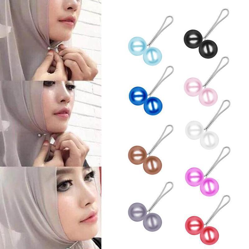 Pérola broche pin para lenço de lenço xaile lenço lenço lenço hijab clipes lenço broche pino 12 pcs / lote mulheres acessórios de jóias presente de natal