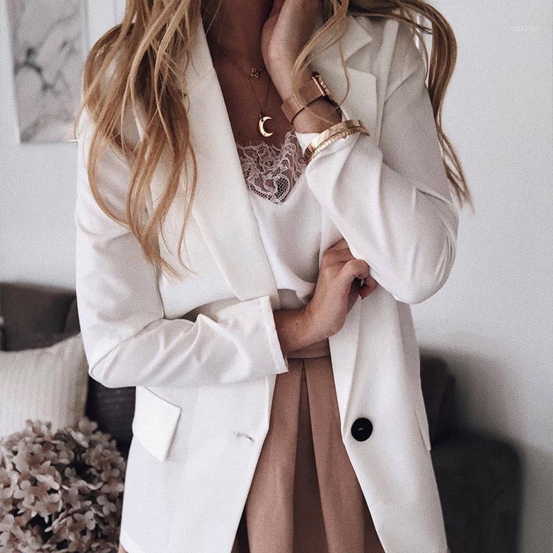 Blazer da donna con tacchetti solidi Plus Size 5xL Manica lunga manica lunga cappotto da donna 2020 primavera autunno sottile moda signore blazer Tops1