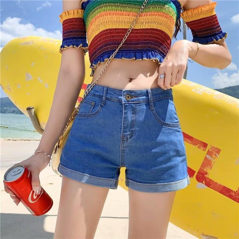 Повседневный новый корейский стиль летние старинные высокие талии джинсовые женские шорты плюс размер тонкий растягивающуюся стажировки женские джинсы шорты Y200822