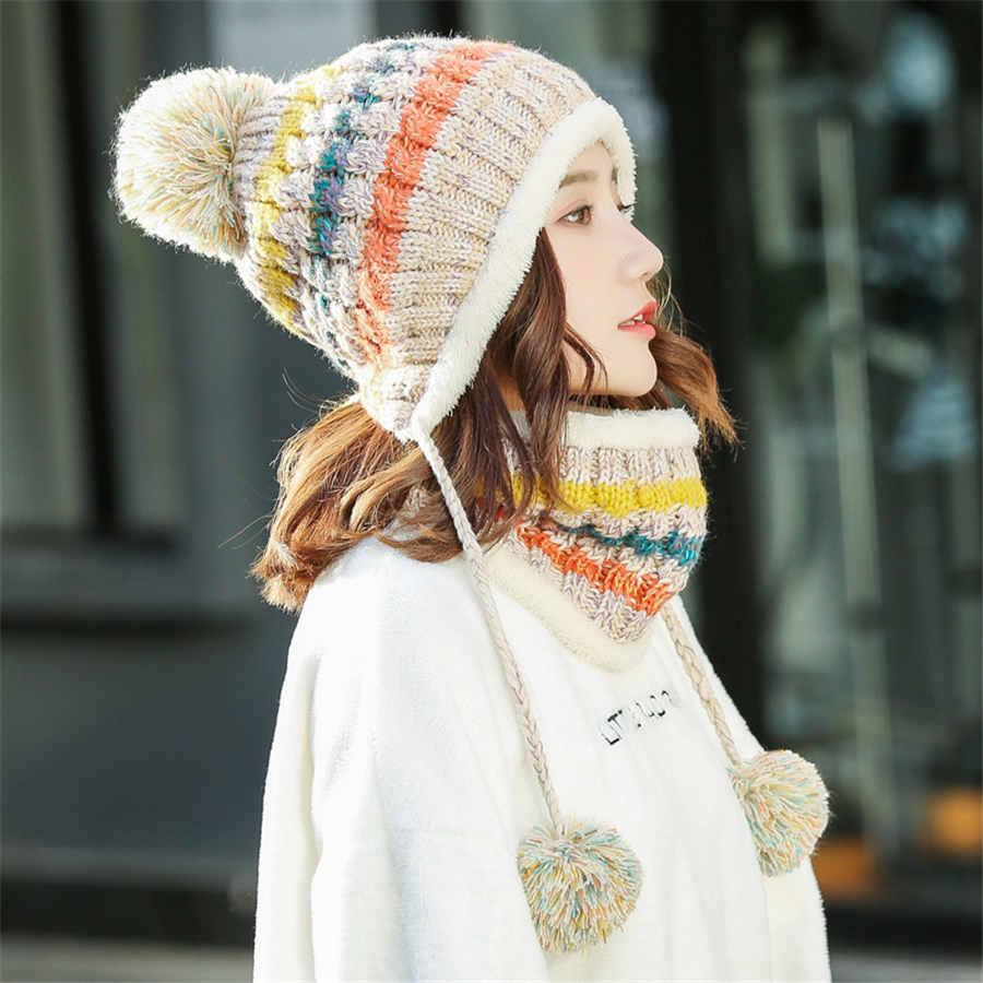 New Winter Women Pompom Hat And Scarf Set Girls Plus Velvet Warm Beanie Cap Female Winter Casual Thick Knitted Hats 2 Pieces Set