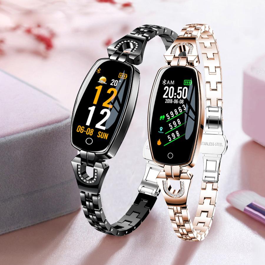 """2021 H8 Moda Kadınlar Akıllı İzle 0.96 """"OLED Kalp Hızı Kan Basıncı Monitör Pedometre Spor Izci Su Geçirmez Smartwatch Zarif"""