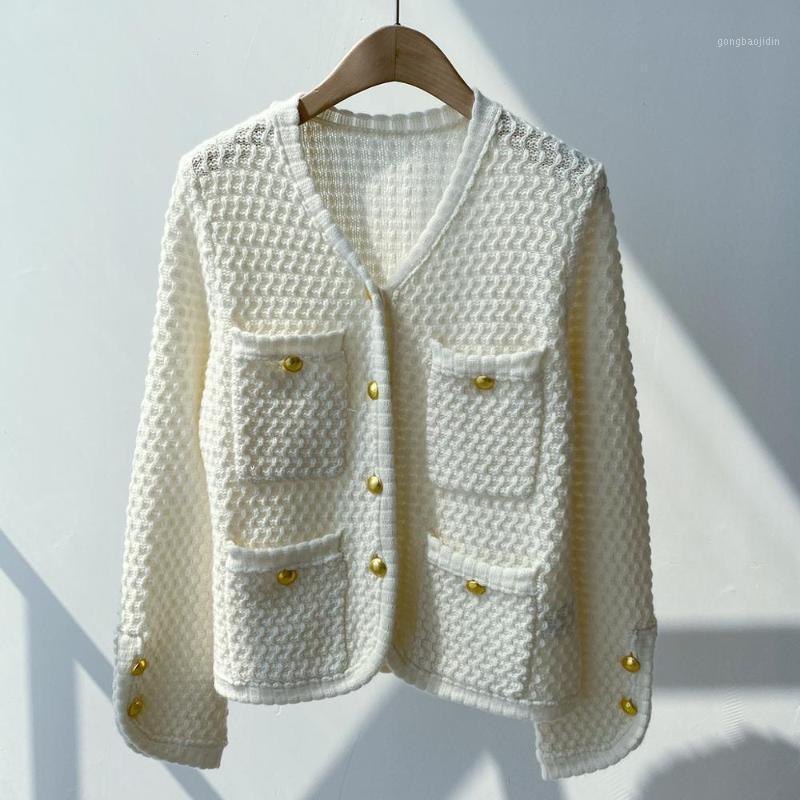 100% Cashmere Knitwear Cardigans Bolsos Femininos V-Pescoço Camisola Casual 2020 Autumn1