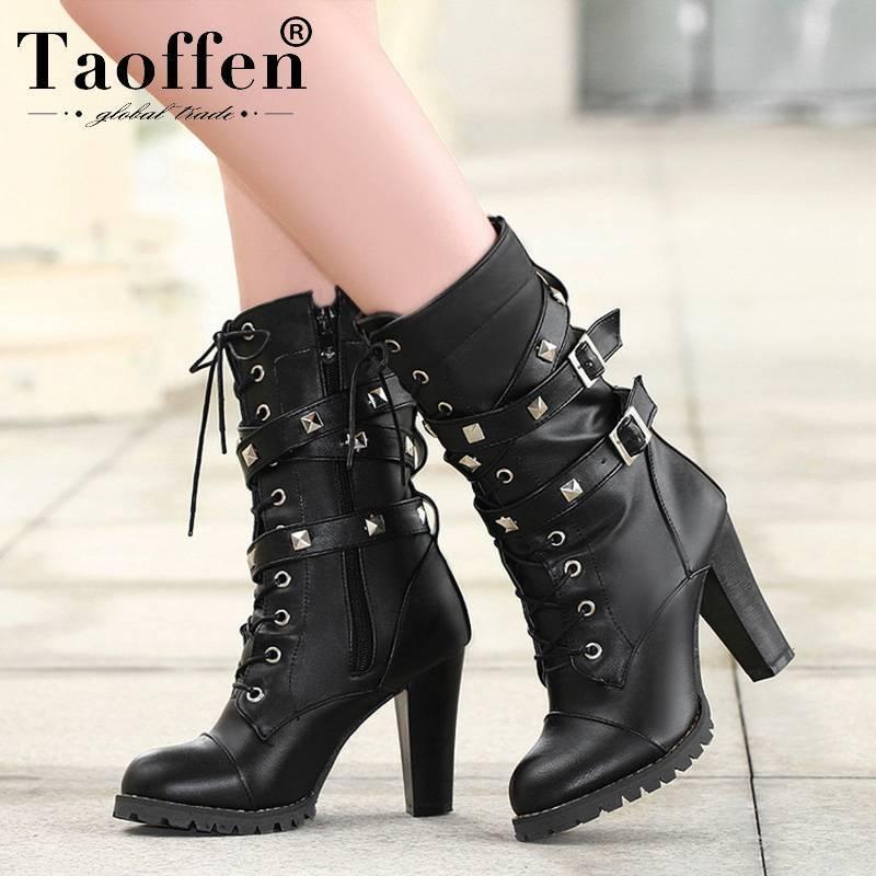 TAOFFEN Damen-Schuhe Damen-Stiefel-Absatz-Plattform Buckle Zipper Nieten Sapatos Femininos schnüren sich oben Größe Lederstiefel 34-48 201019