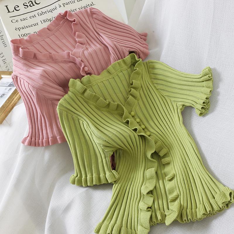 Dulce del otoño suéter de manga corta con cuello en V Botón Camisas de punto de las mujeres ocasionales de la manera sólidas tapas en color de alta elasticidad Cardigan
