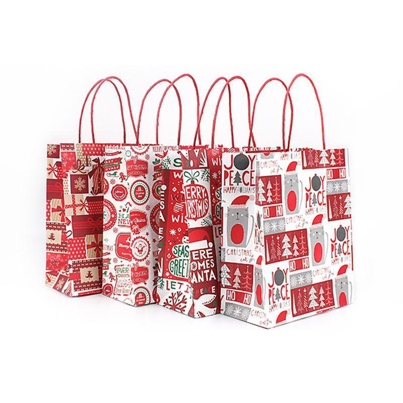 12 stücke rote weihnachten geschenk taschen zufällige stile handwerk papier taschen für schmuck geschenk verpackung weihnachtszeit