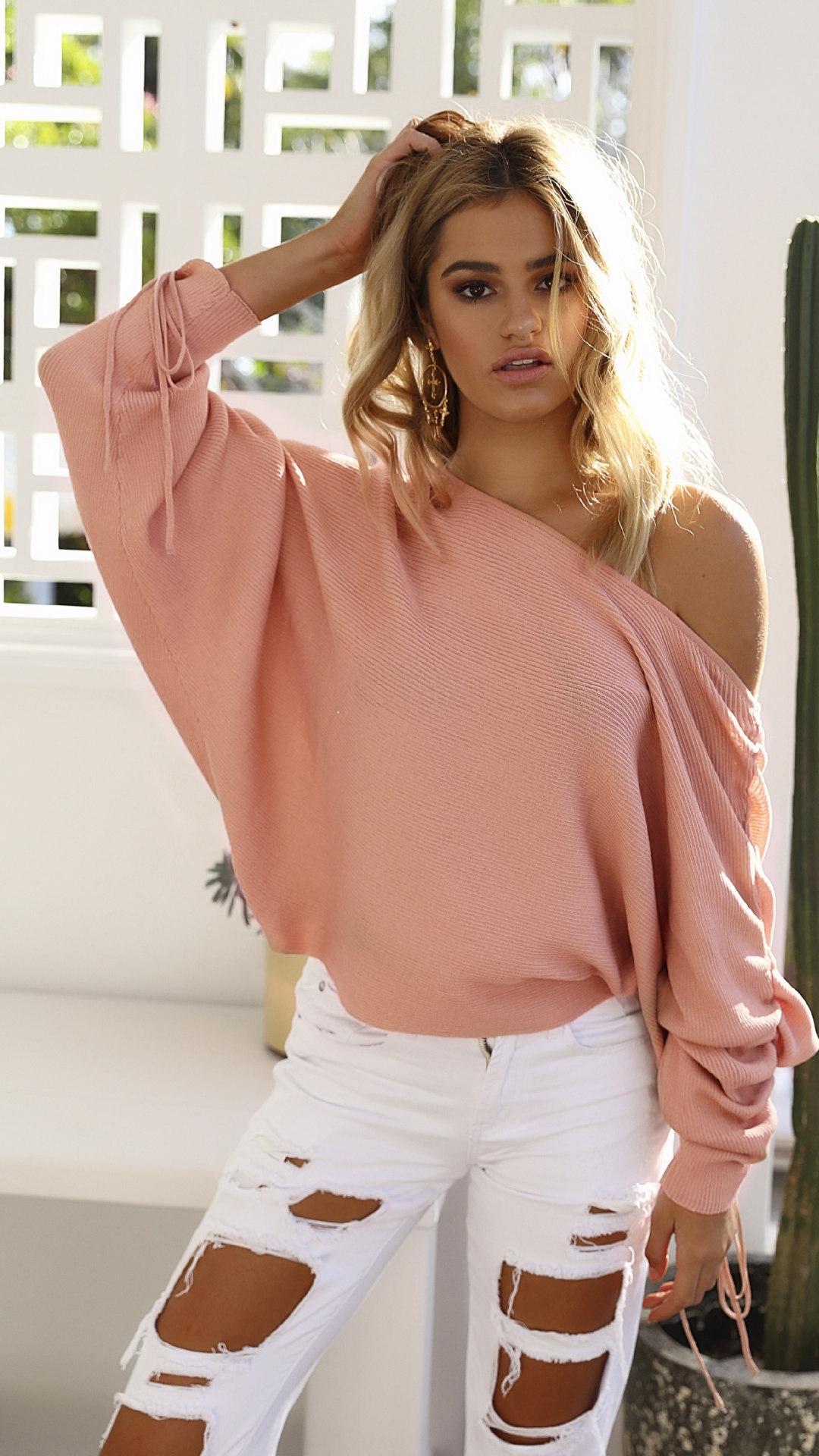 9Nw6L nuova casuale aperta autunno maglione di usura in abiti femminili invernali wearSweater delle donne spalla e l'inverno pit HALd1