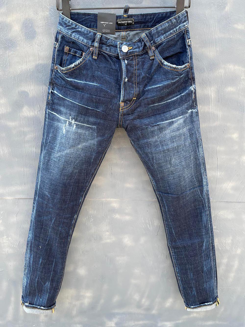 DSQ Phantom Tortue Classic Fashion Homme Jeans Hip Hop Rock Moto Mens Casual Design Décontracté Jeans Détresse Skinny Denim Biker DSQ Jeans 1050
