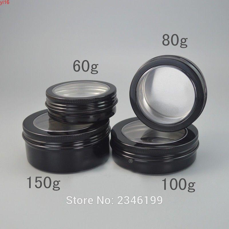 60G 80G 40pcs / lot Negro Aluminio Cosmético Tarro de crema con tragaluz, Casquillo claro vacío redondo, Jargoods