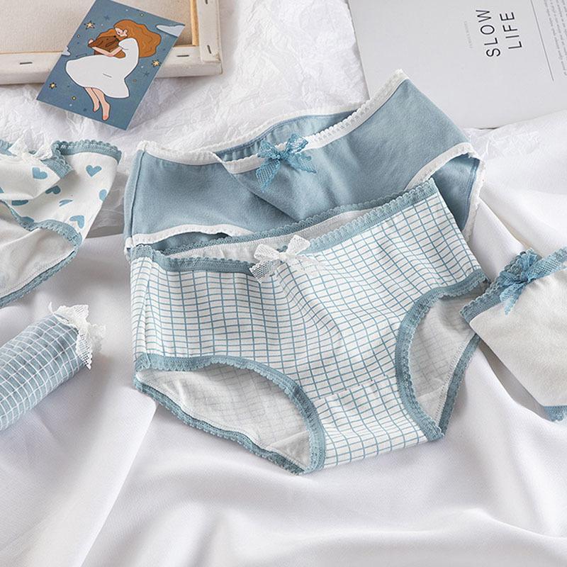Hohe qualität karierte lingerie mädchen liebe höschen weiche baumwolle unterwäsche blaue slics mädchen hosen sexy lingerie y0126