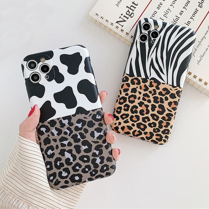 Leopard Floral hybride Imprimer Téléphone pour iPhone 11 Pro Max XR XS Max 8 7Plus Caméra Protection silicone souple IMD couverture