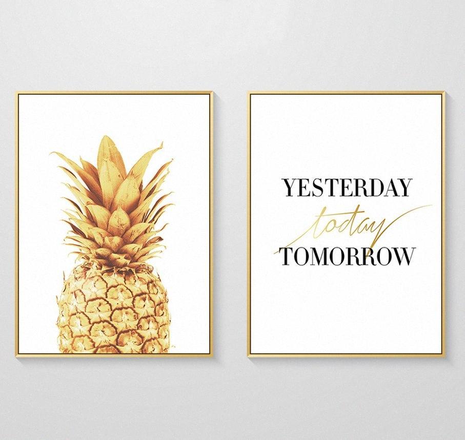 Вчера Сегодня Завтра Золотой ананас холст картины Wall Art Poster Картины для гостиной Home Decor No Frame B08S #