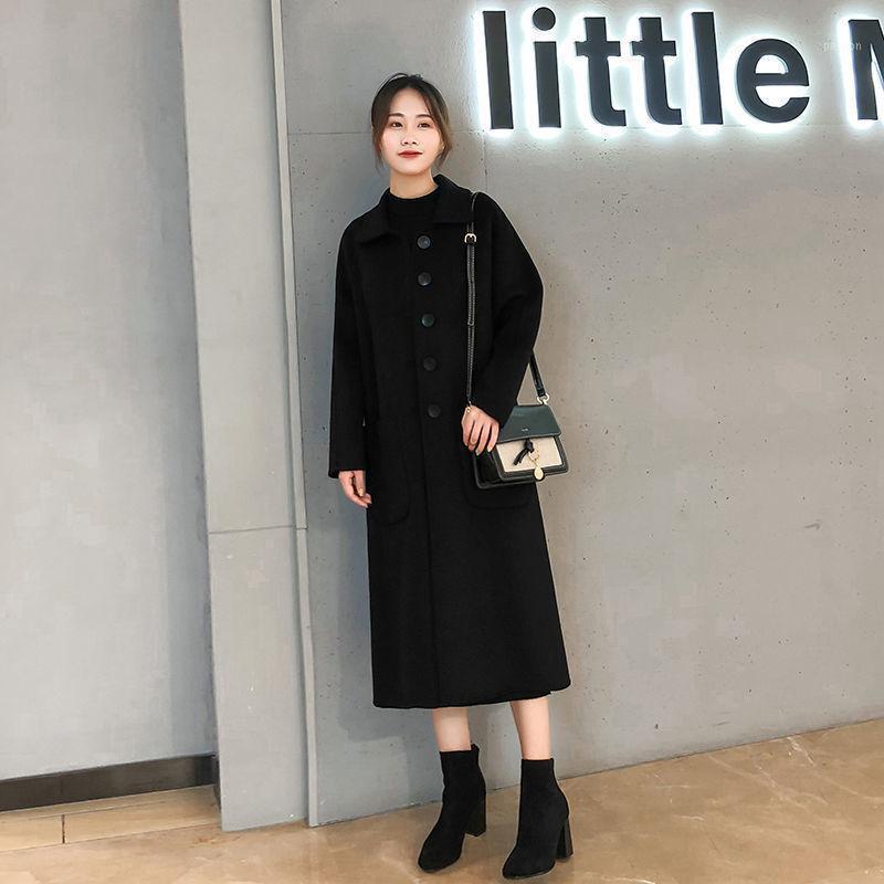 Femmes 2020 Spring Automne Nouveau collier carré Simple Outwear Withear Femelle Manteau lâche Dames Veste en laine solide double face L781