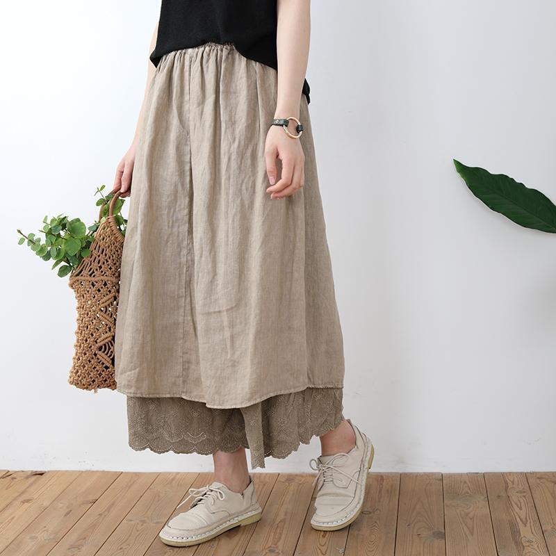 Johnature Japan Style A-Line Юбка для женщин Solid Color Лоскутной Lace 2020 Нового лето высокой талии Сыпучей Женского Vintage Юбки