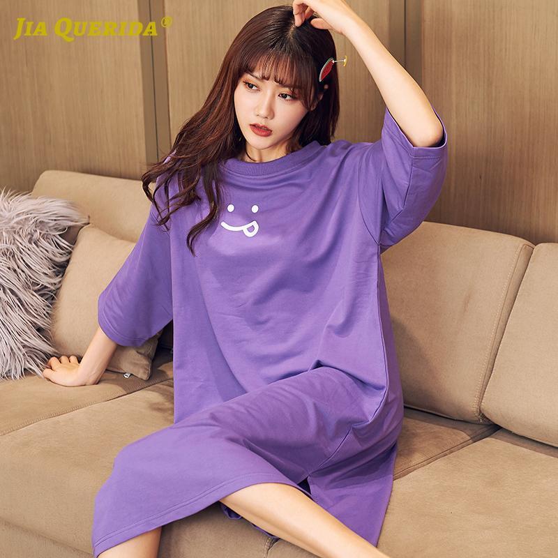 Ropa de dormir para mujer vestido de dormir 100% algodón casual ropa de hogar pantalones cortos de verano color púrpura color sólido camisón lingerie joven señoras estudiantes estudiante