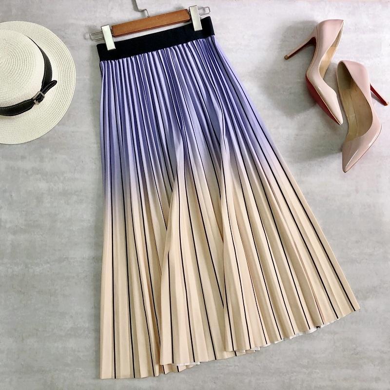 Primavera Estate Donne Midi Gonne Midi Gradiente Color Stripe Pieghettato Gonne Alta Vita Elegante Ufficio Lady A-Line Gonne lunghe coreane Y1214