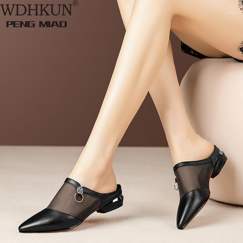 Resbalón de verano de las mujeres en la malla PU Sandalias Señoras puntiagudas punteras cono tacones diapositivas mujer moda sandalia hembra zapatos casuales 2020 hot1