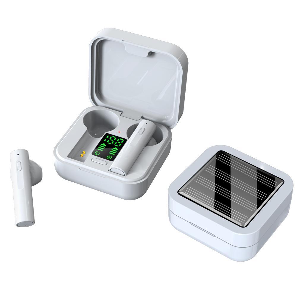 A6Plus Bluetooth 5.0 casque sans fil de charge solaire LED affichage du son High-Fidelity Sound Intelligence TWS Écouteur avec boîte à charge intra-auriculaire