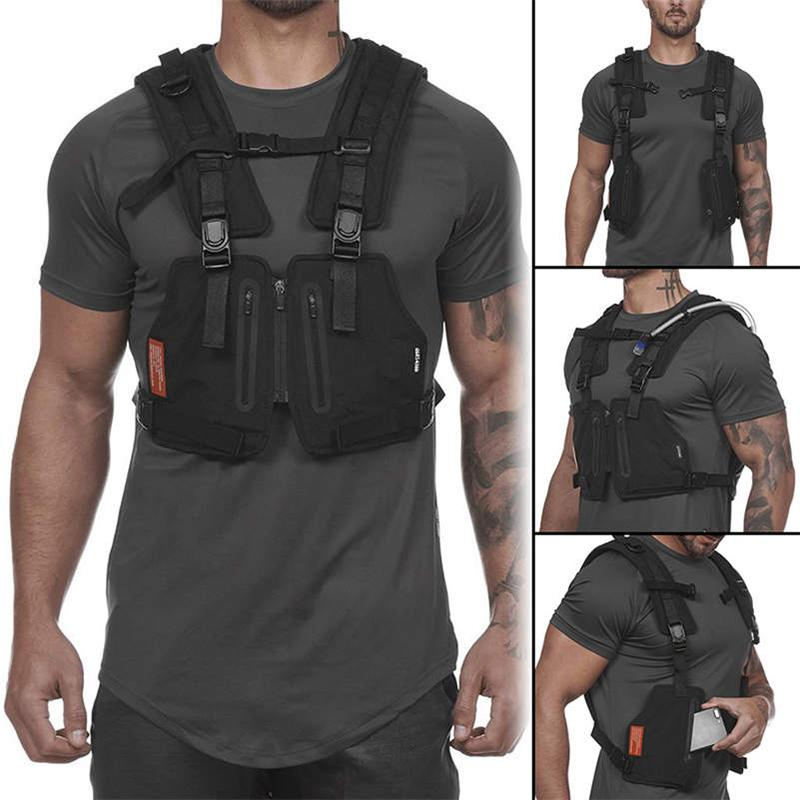 Function Military Tactical Chest bag Outdoor Hip hop Sports Fitness Men Protective Reflective Top Cycling Fishing Vest Q1221