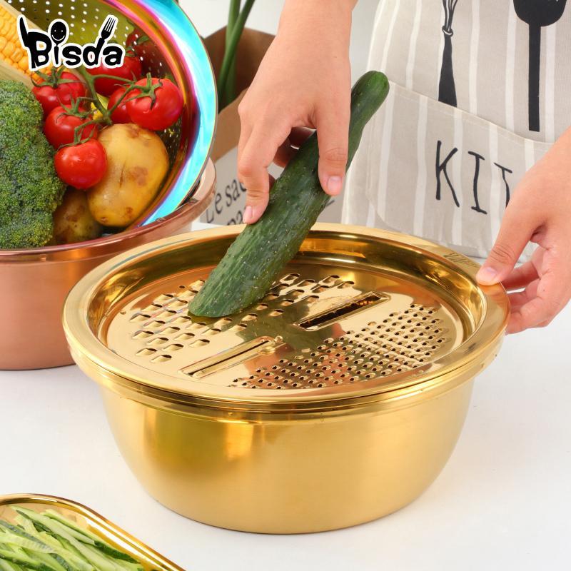 Кухонный инструмент из нержавеющей стали сливают горшок ситечко корзина для корзины овощной резьбовой нож