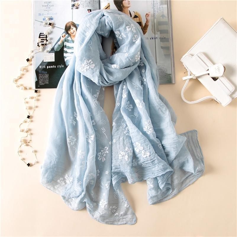 Yeni marka bahar kadın fular Nakış moda uzun eşarplar pamuk kış şal bayan paşmina bandana fular hicap kadın Y201007