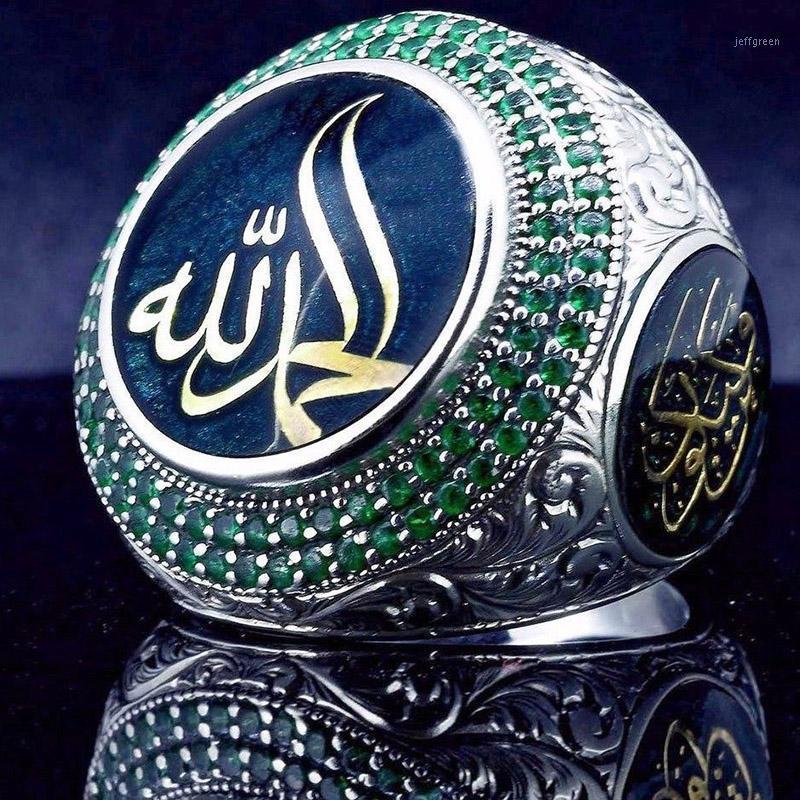 Vintage Islam Profeta Muhammad Blue Crystal Ring Punk Saudita Star Star Star Turco Ottomano CZ Dichiarazione Anelli per uomo Boho Gioielli musulmani1