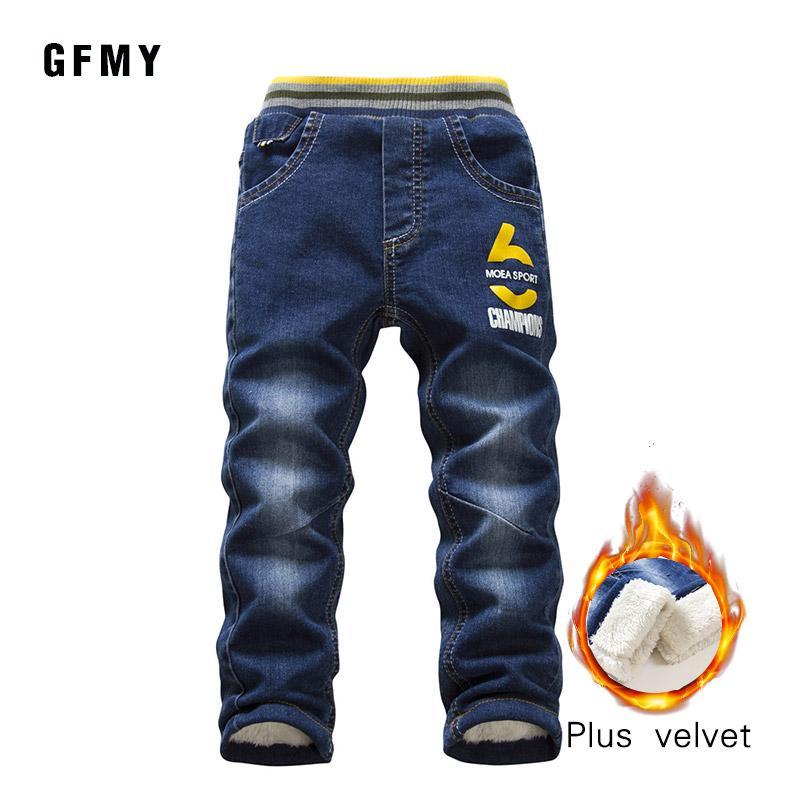 GFMY Marca 2019 de invierno de ocio, además de terciopelo Niños Jeans 3 años -10year Mantenga los pantalones calientes tipo recto para niños