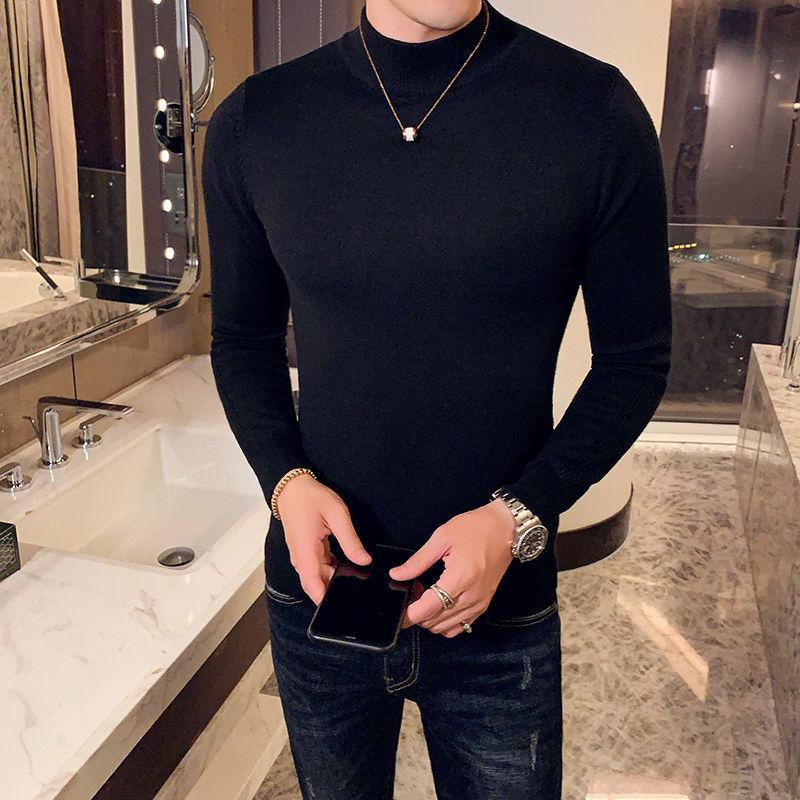 2020 malha meia gola alta, manga longa, camisa de base, suéter masculino, camisola de Herren para homem, camisas finas. 6CYA.